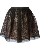 RED Valentino 'Little Birds' Embroidered Skirt - Lyst