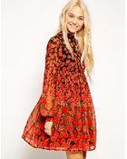 Asos Skater Dress With Funnel Neck In Border Poppy Print - Lyst
