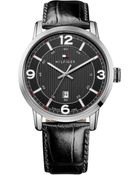 Tommy Hilfiger Men'S Black Croc-Embossed Leather Strap Watch 44Mm 1710342 - Lyst