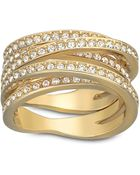 Swarovski Spiral Crystal And Gold-Tone Ring Size 9 - Lyst