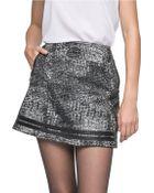Andrew Marc Leather Trim Distressed Miniskirt - Lyst