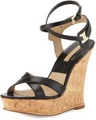 Michael Kors Shana Leather Wedge Sandal - Lyst