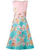 Oscar de la Renta Floral Embroidered Appliqué Dress - Lyst