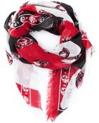 Alexander McQueen Skull And Stripes Scarf - Lyst