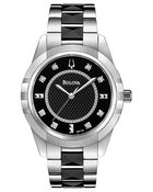 Bulova Ladies Stainless Steel Black Watch with Diamond Markers - Lyst