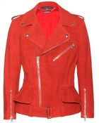 Alexander McQueen Washed-Leather Biker Jacket - Lyst