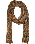 Saint Laurent Tan Silk Blend Leopard Print Scarf - Lyst