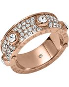 Michael Kors Rose Goldtone Crystallized Astor Ring - Lyst