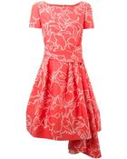 Oscar de la Renta Floral-Print Tie-Belted Dress - Lyst
