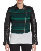 Burberry Brit Cropped Leather-Sleeve Jacket - Lyst