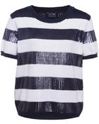 Armani Jeans Sequin Stripe Top - Lyst