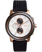 Michael Kors Mens Chronograph Granger Black Silicone Strap Watch 51mm - Lyst