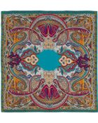 Etro Turquoise Paisley Silk Scarf - Lyst