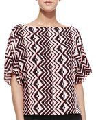 Milly Geometric-Print Dolman-Sleeve Top - Lyst