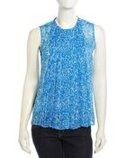 Diane von Furstenberg Israel Sleeveless Accordion-Pleated Blouse - Lyst