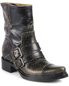 Miu Miu Distressed Leather Motorcycle Boots - Lyst