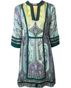 Etro Paisley-Print Silk Tunic Dress - Lyst