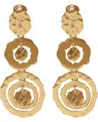 Oscar de la Renta Gold-Tone Circle Drop Clip-On Earrings - Lyst