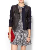 Rebecca Taylor Combo Moto Jacket W/ Leather - Lyst