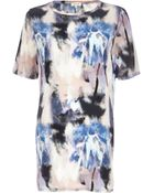 River Island Purple Blurred Print Woven Front Tunic - Lyst
