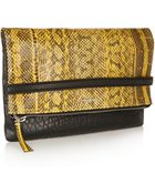McQ by Alexander McQueen Phlox Textured-Leather And Elaphe Clutch - Lyst