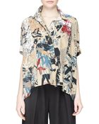 Donna Karan New York Short-Sleeve Street Art-Print Camp Top - Lyst