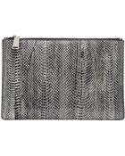 Jil Sander Snake Leather Envelope Clutch - Lyst