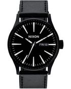 Nixon Sentry Black / White Leather Watch - Lyst