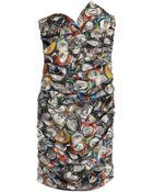 Moschino Strapless Can Print Dress - Lyst