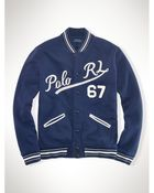 Ralph Lauren Fleece Baseball Jacket - Lyst