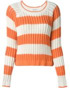 Elizabeth And James Striped Open Knit Sweater - Lyst