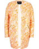 River Island Orange Floral Jacquard Coat - Lyst