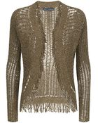 Ralph Lauren Black Label Fringed Knit Cardigan - Lyst