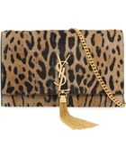 Saint Laurent Leopard-Print Calf-Hair Clutch Bag Bag - Lyst