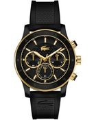 Lacoste Women'S Chronograph Charlotte Black Silicone Strap Watch 40Mm 2000862 - Lyst
