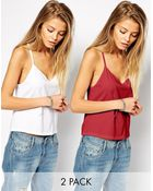 Asos Cropped Cami Top With V Neck 2 Pack Save 20% - Lyst