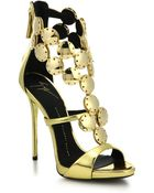 Giuseppe Zanotti Metal Paillettes Metallic Leather Sandals - Lyst
