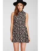 Forever 21 Floral Print Shirt Dress - Lyst