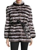 Gorski Rabbit Fur Stand-Collar Jacket - Lyst