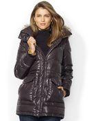 Lauren by Ralph Lauren Faux-Fur-Trim Hooded Down Puffer Coat - Lyst