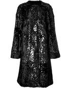Giambattista Valli Sequin Embellished Lamb Fur Coat - Lyst
