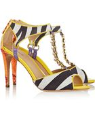 Just Cavalli Suede And Leather Sandals - Lyst