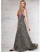 Mara Hoffman Deep V Checkers Gown - Lyst
