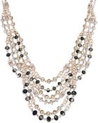Inc International Concepts Rose Goldtone Multibead Frontal Necklace - Lyst