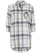 Topshop Oversized Large Scale Checked Shirt - Lyst