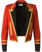 Saint Laurent Red Virgin Wool Twill Spencer Officer Jacket - Lyst