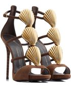 Giuseppe Zanotti Suede Sandals With Metallic Seashells - Lyst