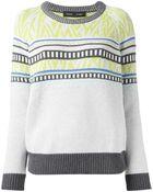 Proenza Schouler Long Sleeve Intarsia Sweater - Lyst