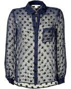 Diane von Furstenberg Chiffon Star Print Shirt - Lyst