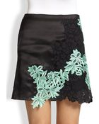 3.1 Phillip Lim Embroidered Lace-Paneled Silk Satin Skirt - Lyst